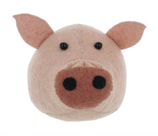 Pink Pig Animal Head Wall Mounted ( Mini ) | Fiona Walker England - Just Add Milk