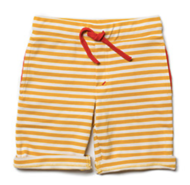 Gold Stripe Beach Shorts: Little Green Radicals