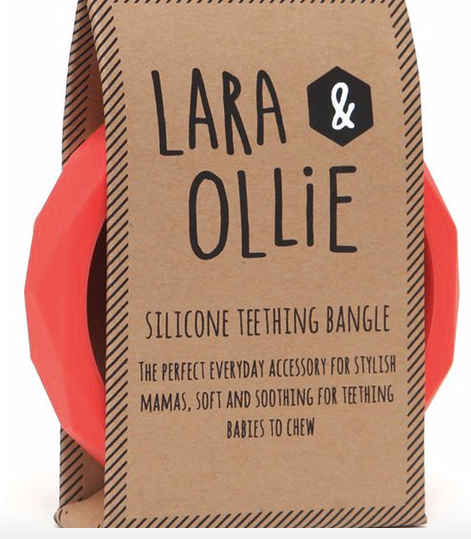 Laura & Ollie Teething Bangle - Coral - Just Add Milk