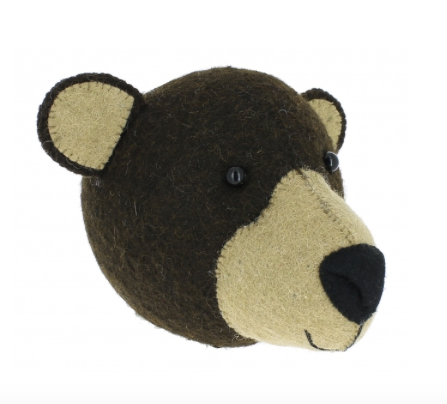 Brown Bear Felt Animal Wall Head (Mini) | Fiona Walker England - Just Add Milk