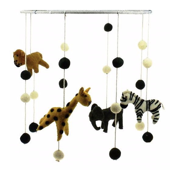 Felt Baby Nursery Mobile - Safari Animals -Just Add Milk