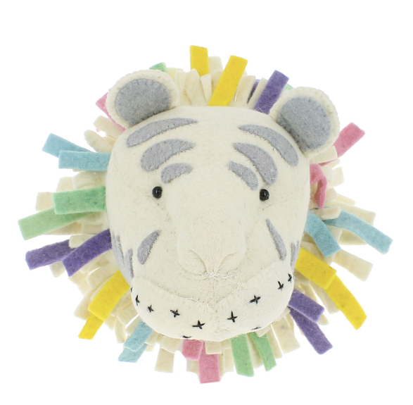 Pastel Safari Tiger Head - Wall Mounted (semi) | Fiona Walker - Just Add Milk