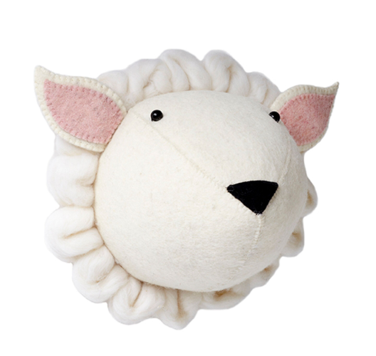 Felt Sheep Head Wall Mounted (mini) | Fiona Walker England - Just Add Milk