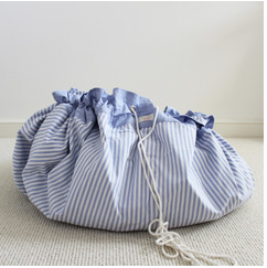 Blue Stripe Drawstring Toy Bag / Play Mat  | Lime Tree London - Just Add Milk