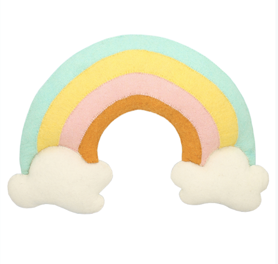 Felt Natural Pastel Rainbow & Clouds Wall Decor - Large | Fiona Walker England - Just Add Milk