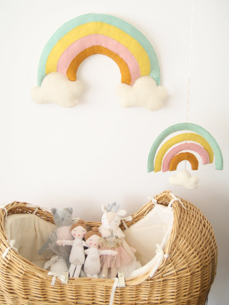 Natural Pastel Rainbow & Cloud Cot Mobile | Fiona Walker - Just Add Milk