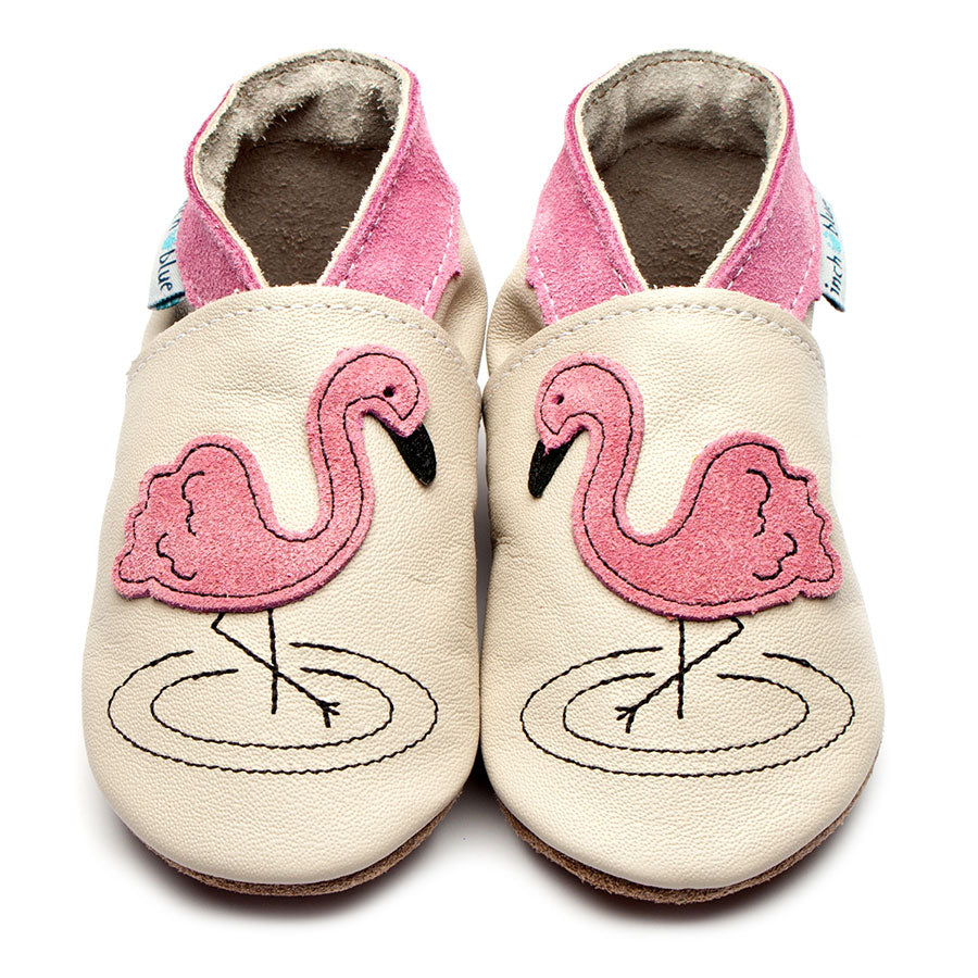 Pink Flamingo shoes In Small & Med: Inch Blue
