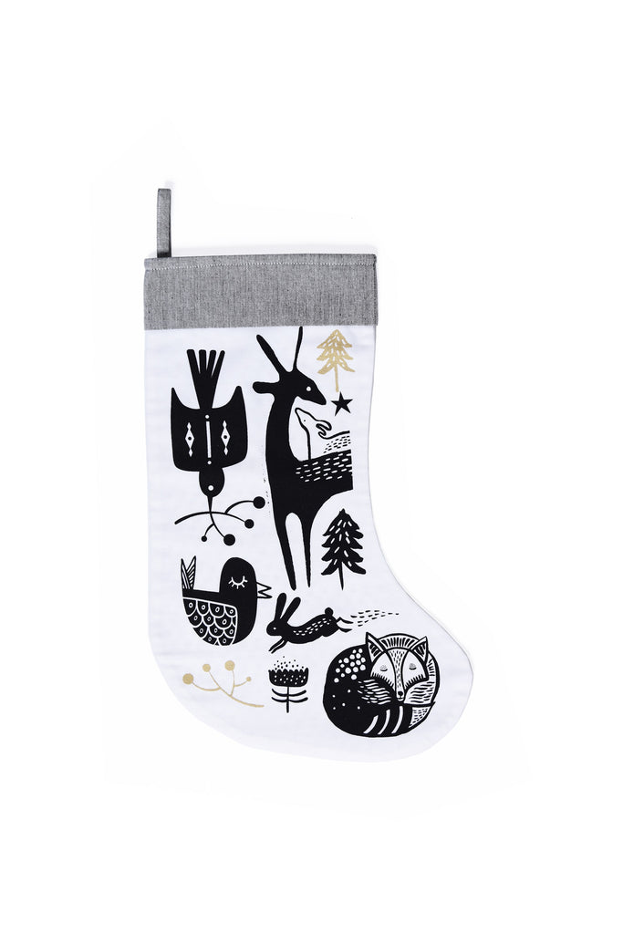 Winter Animals Stocking - Black on White | Wee Gallery