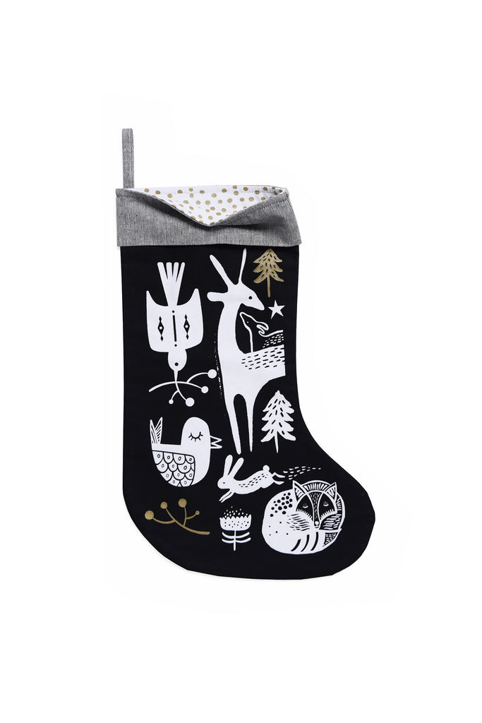 Winter Animals Stockings- White on Black | Wee Gallery