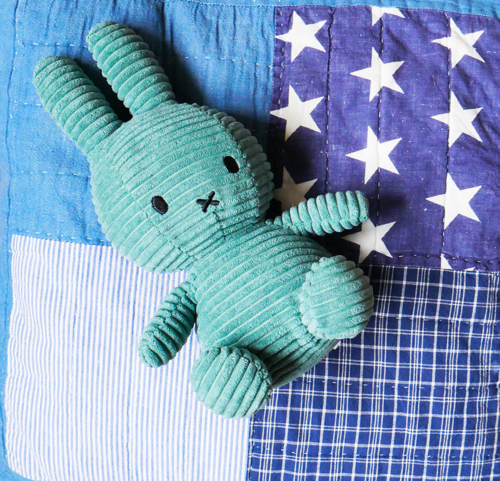 Miffy Soft Toy - Turquoise Corduroy - Just Add Milk