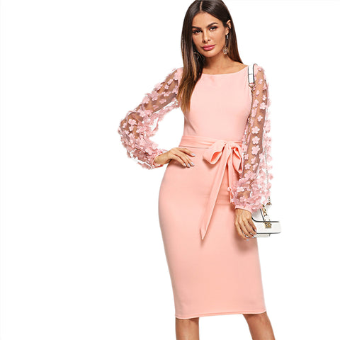 Flower Mesh Sleeve Dress