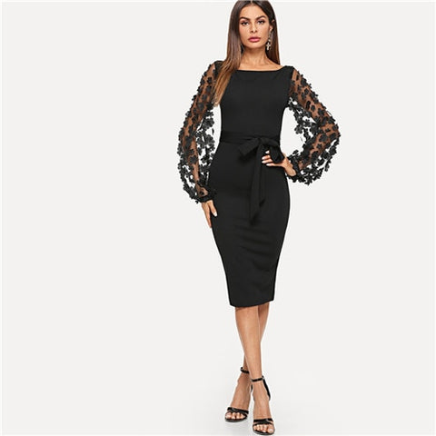 Black Flower Mesh Sleeve Dress