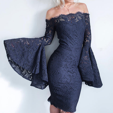Sexy Lace Flare Sleeve Dress