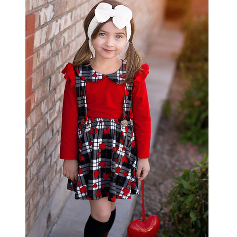 Image of Suspender Dress - Black, White, & Red Gingham