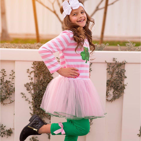 Pink & White Striped Clover Tutu Outfit