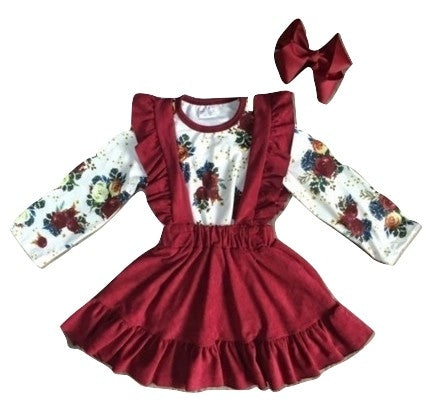 Cranberry Floral Suspender Dress
