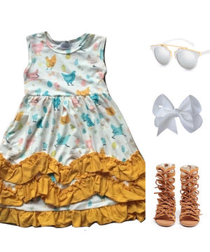 Gold Chicken Ruffle Deluxe Dress
