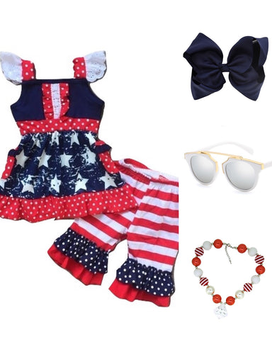 Red, White & Blue Ruffle Outfit