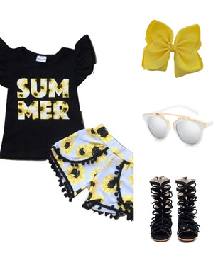 Summer Sunflower Short Outfit