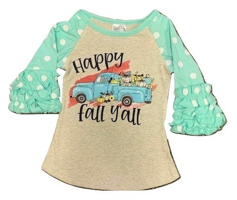 Vintage Truck Happy Fall Ya'll Raglan