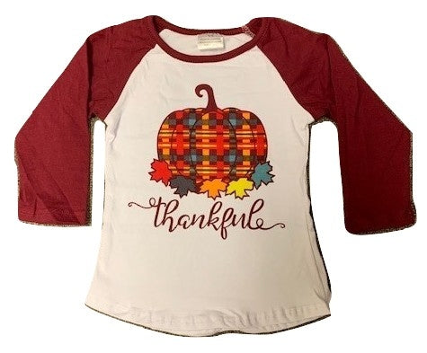Plaid Pumpkin Thankful Raglan