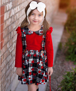 Suspender Dress - Black, White, & Red Gingham