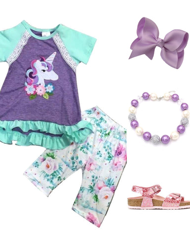 Purple Unicorn Capri Outfit