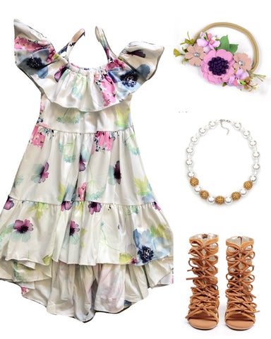 Floral Plum High-Low Dress