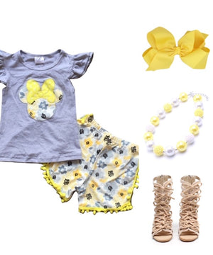Grey & Yellow Minnie Outfit