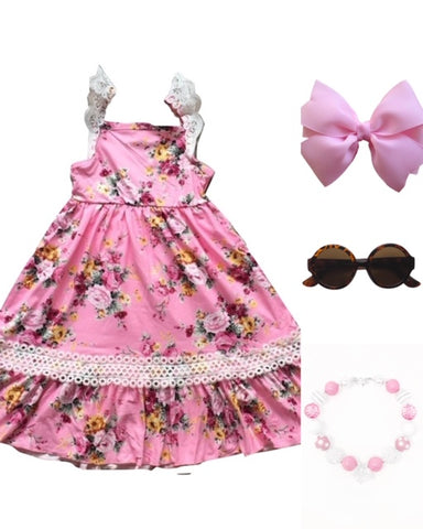 Bubble Gum Floral Ruffle Dress