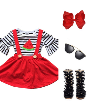 Red, Black & White Suspender Dress