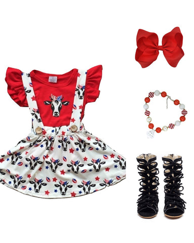 Red, White & Blue Cow Suspender Dress