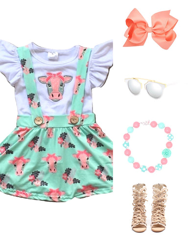 Mint & Coral Cow Suspender Outfit