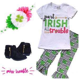 Black & White Striped Clover Outfit - All Trouble