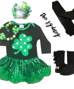 Green, Black, & Sequin Clover Petti Outfit