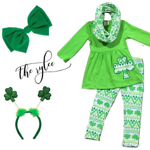 Green & White Clover Scarf Outfit - The Rylee