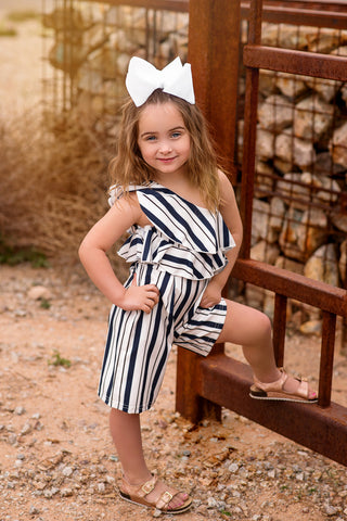 Striped Off The Shoulder Romper 1-5YRS