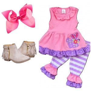 Pink & Purple Striped Rabbit Outfit