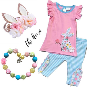 Pink, Teal & White Striped Bunny Outfit - The Kiera - Capri Set