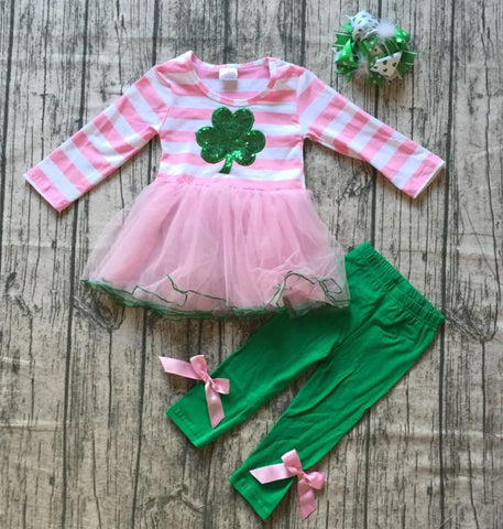 Image of RAGLAN - Pink & White Striped Clover Tutu Outfit