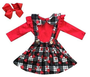 Suspender Dress - Black, White, Red Gingham