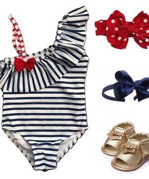 Swimsuit - Red, White & Blue Striped