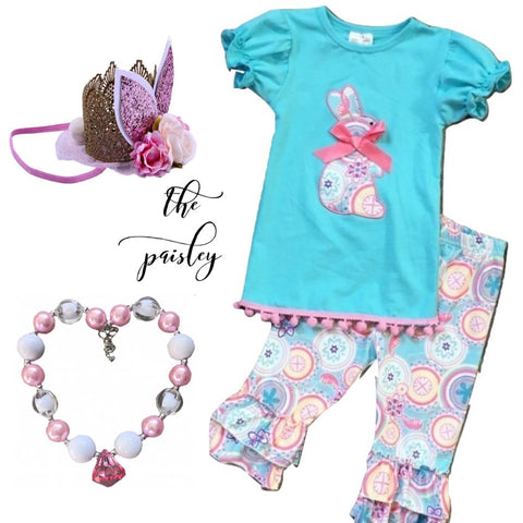 Teal & Pink Bunny Outfit - The Paisley - Capri Set