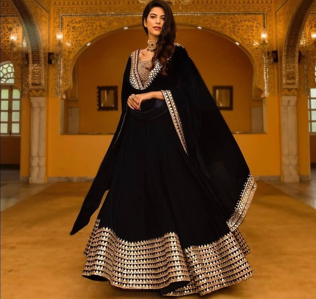 9199bd9464 Awesome Black Color Designer Embroidered Semi Stitched Lahenga Choli sr361
