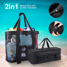 Load image into Gallery viewer, Mesh Beach Cooler Tote Bag
