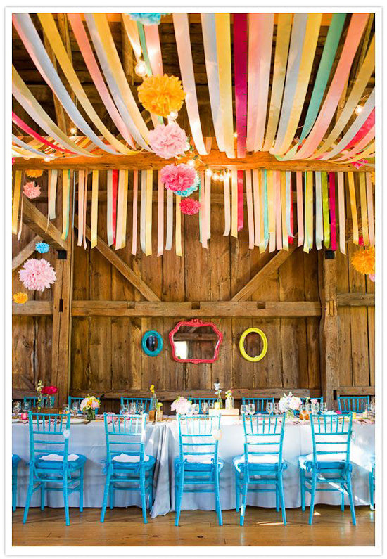 streamers con cintas papel crepe colores