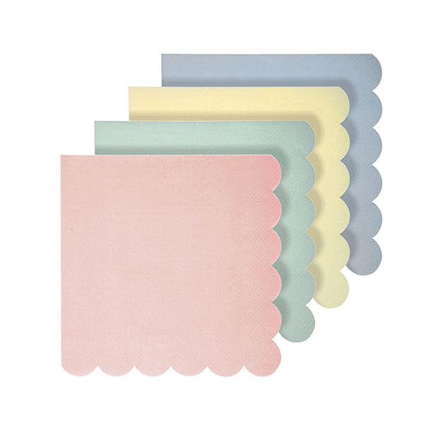 Servilletas mix pastel borde ondulado / 20 uds.