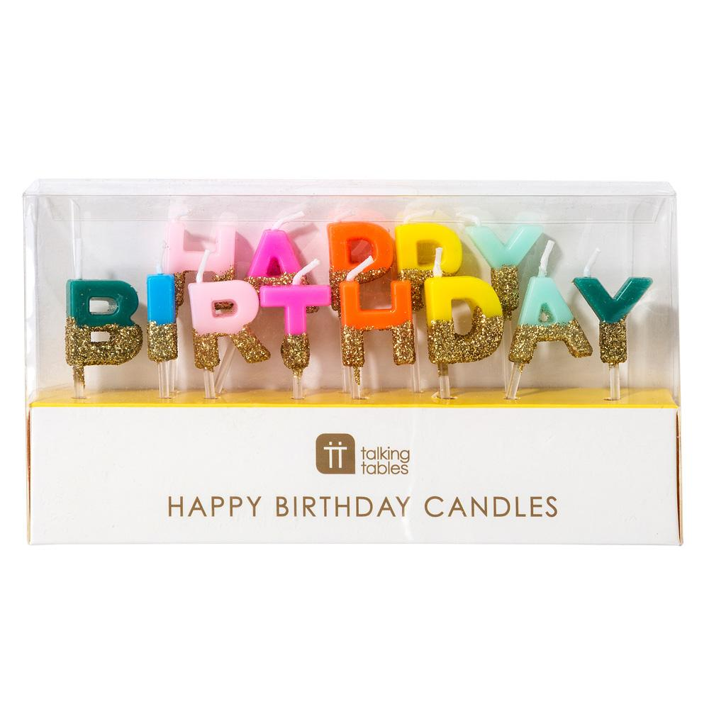 Velas Happy Birthday multicolor