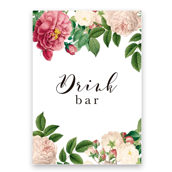 Cartel Drink Bar flores & fabulous personalizado