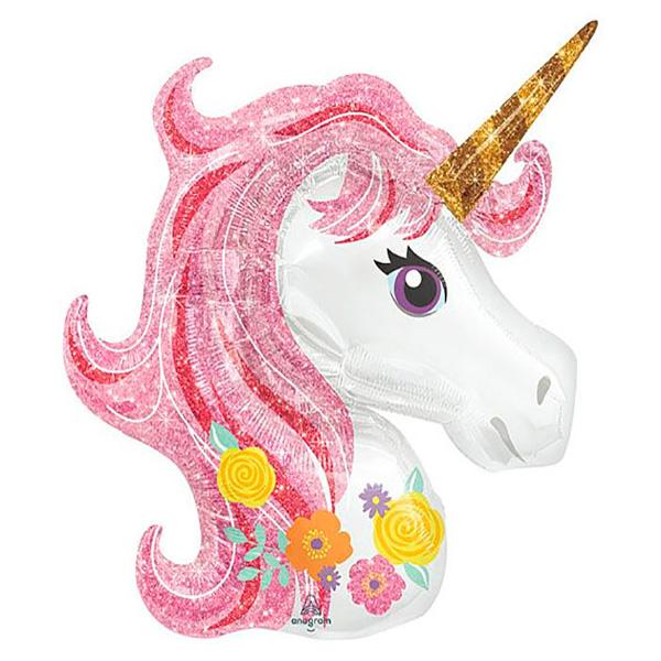 Globo Unicornio rosa brillo XL